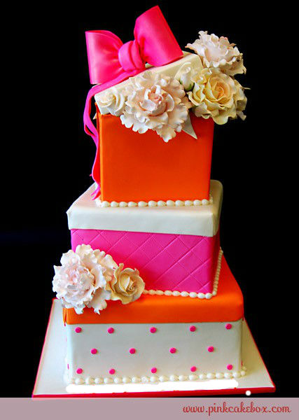 Pink and orange box cake