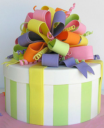 Multicolored ribbon cake