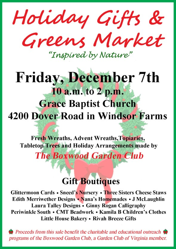 "Holiday Gifts & Greens Market ""Inspired by Nature"""