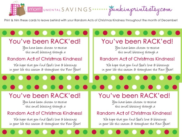 Random Acts of Christmas Kindness form MOMumental Savings
