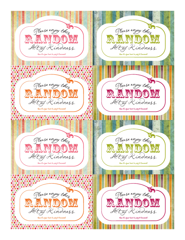 Free Printable Random Act of Kindness cards from Thumba-Lea
